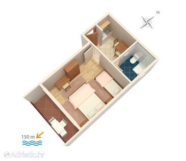 Baška Voda, План в размещении типа studio-apartment, Домашние животные допускаются и WiFi.
