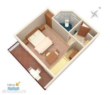Baška Voda, Půdorys v ubytování typu studio-apartment, domácí mazlíčci povoleni a WiFi.