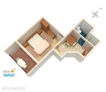 Baška Voda, Půdorys v ubytování typu studio-apartment, dopusteni kucni ljubimci i WIFI.