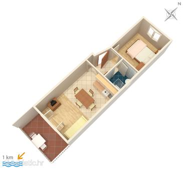 Premantura, Plan in the apartment, dopusteni kucni ljubimci.