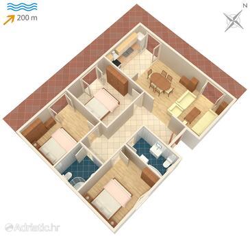 Klenovica, Plan in the apartment, WiFi.