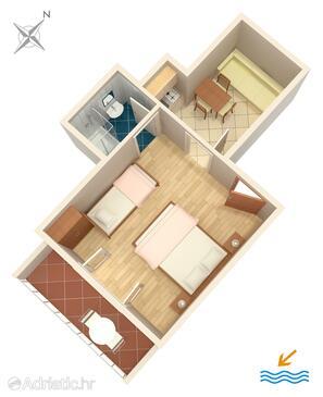 Drvenik Donja vala, Půdorys v ubytování typu apartment, domácí mazlíčci povoleni.