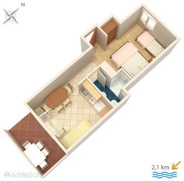 Valbandon, Půdorys v ubytování typu studio-apartment, WIFI.