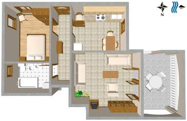 Duga Luka (Prtlog), Plan kwatery w zakwaterowaniu typu apartment, WiFi.