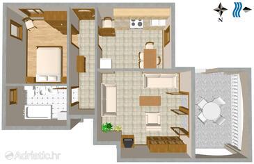 Duga Luka (Prtlog), План в размещении типа apartment, WiFi.