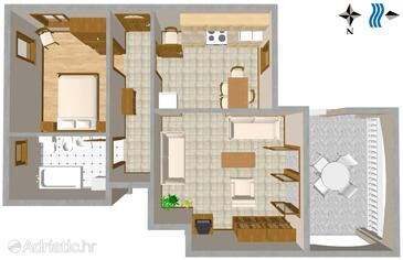 Duga Luka (Prtlog), Plan in the apartment, WiFi.