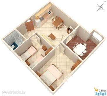 Šilo, Plan in the apartment, dopusteni kucni ljubimci i WIFI.
