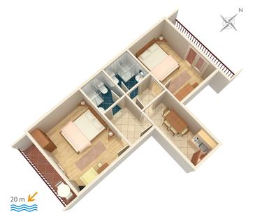 Drvenik Donja vala, Plan kwatery w zakwaterowaniu typu apartment, WIFI.