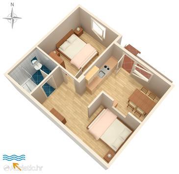 Dajla, Půdorys v ubytování typu apartment, WIFI.