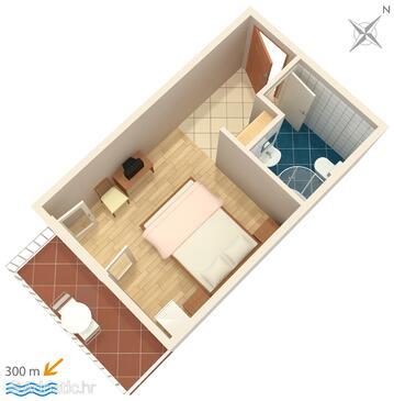 Baška Voda, Plan in the studio-apartment, WIFI.