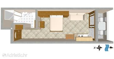 Nemira, Plan in the studio-apartment.