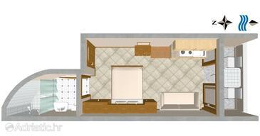 Nemira, Plan in the studio-apartment.