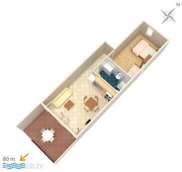 Milna, Plan in the apartment, dopusteni kucni ljubimci i WIFI.
