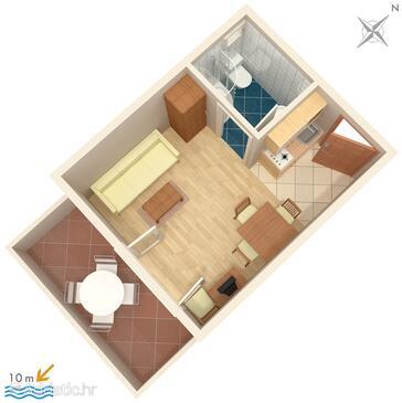 Vinišće, Plan in the studio-apartment.