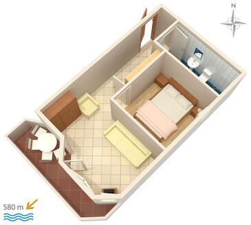 Stara Novalja, Plan kwatery w zakwaterowaniu typu apartment, dopusteni kucni ljubimci i WIFI.