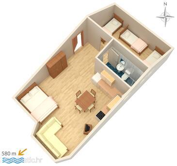 Stara Novalja, Plan in the studio-apartment, dopusteni kucni ljubimci i WIFI.