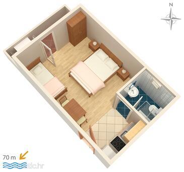 Mandre, Plan in the studio-apartment, WIFI.