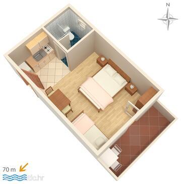 Mandre, План в размещении типа studio-apartment, WiFi.