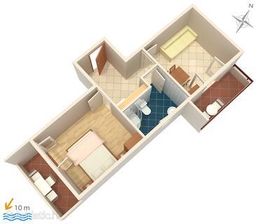 Primošten, Plan in the apartment, WIFI.