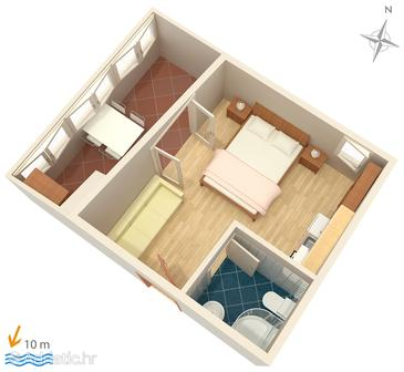 Primošten, Plan in the studio-apartment, WIFI.