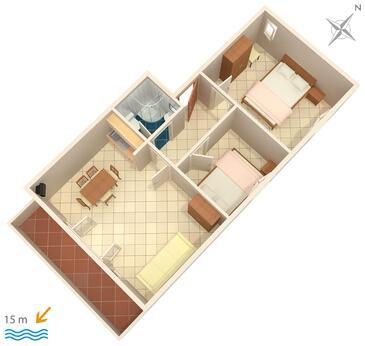 Brodarica, Plan kwatery w zakwaterowaniu typu apartment, WIFI.