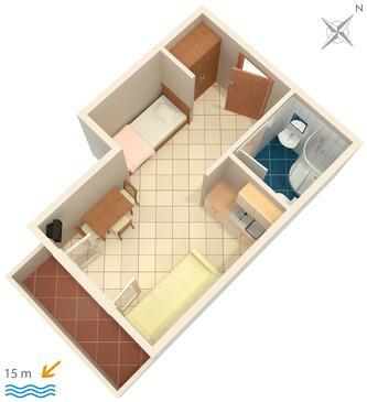 Brodarica, Plan kwatery w zakwaterowaniu typu studio-apartment, WIFI.