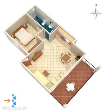 Rogoznica, Pôdorys v ubytovacej jednotke apartment, domáci miláčikovia povolení a WiFi.