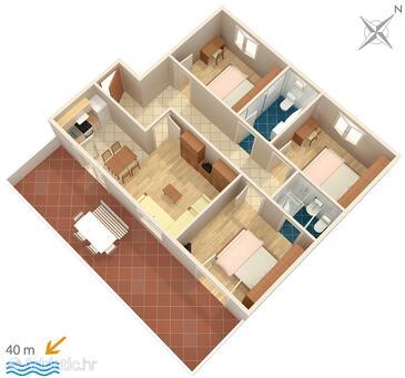 Igrane, План в размещении типа apartment, WIFI.