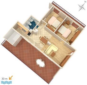 Igrane, Pôdorys v ubytovacej jednotke apartment, domáci miláčikovia povolení a WiFi.
