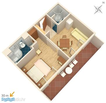 Igrane, Plan in the apartment, (pet friendly) and WiFi.