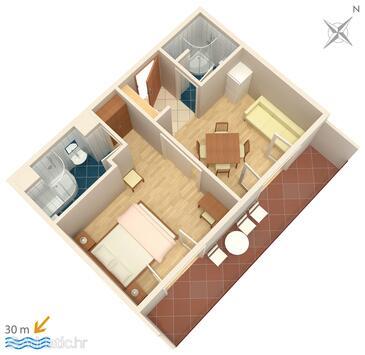 Igrane, Plan kwatery w zakwaterowaniu typu apartment, zwierzęta domowe są dozwolone i WiFi.