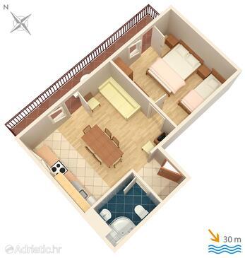 Igrane, Půdorys v ubytování typu apartment, domácí mazlíčci povoleni a WiFi.