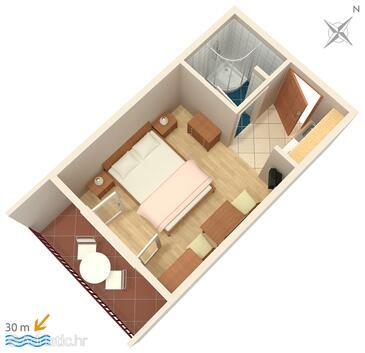 Igrane, Půdorys v ubytování typu studio-apartment, domácí mazlíčci povoleni a WiFi.
