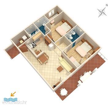 Podaca, Grundriss in folgender Unterkunftsart apartment, Haustiere erlaubt und WiFi.
