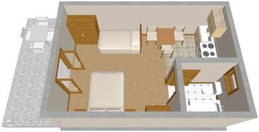 Podaca, План в размещении типа studio-apartment, dopusteni kucni ljubimci i WIFI.