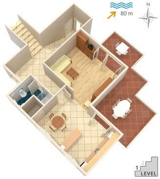 Žrnovska Banja, Plan in the apartment, dopusteni kucni ljubimci.