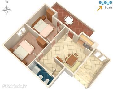 Žrnovska Banja, Půdorys v ubytování typu apartment, domácí mazlíčci povoleni.