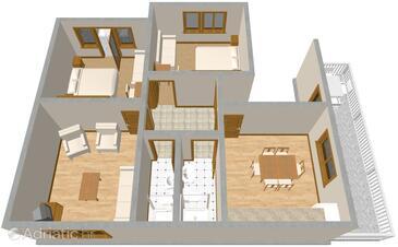 Podgora, Nacrt u smještaju tipa apartment, WiFi.