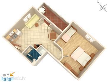 Trpanj, Půdorys v ubytování typu apartment, domácí mazlíčci povoleni a WiFi.