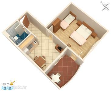Trpanj, Plan in the apartment, dopusteni kucni ljubimci i WIFI.