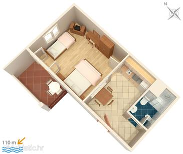 Trpanj, Plan in the apartment, (pet friendly) and WiFi.