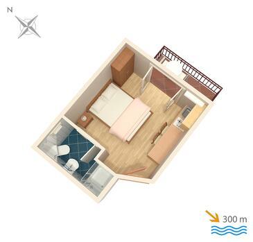 Mlini, Plan kwatery w zakwaterowaniu typu studio-apartment, WIFI.