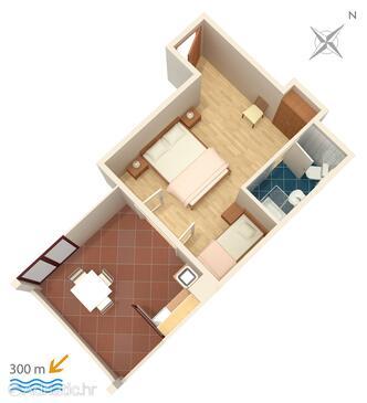 Mlini, Plan in the studio-apartment, WIFI.