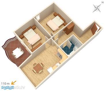 Tučepi, Půdorys v ubytování typu apartment, WiFi.