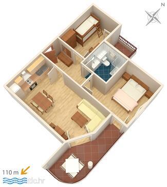 Tučepi, Alaprajz szállásegység típusa apartment, WiFi .