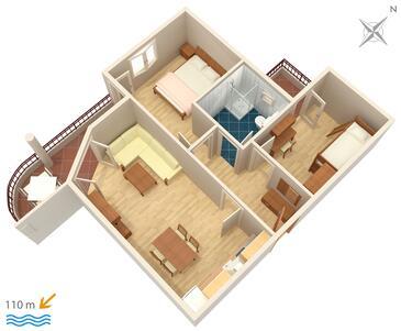 Tučepi, Pôdorys v ubytovacej jednotke apartment, WIFI.
