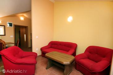 Rogoznica, Living room in the apartment, dopusteni kucni ljubimci i WIFI.