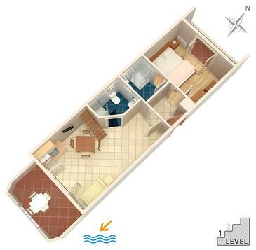 Banjol, Plan kwatery w zakwaterowaniu typu apartment, zwierzęta domowe są dozwolone.