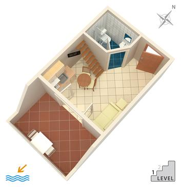 Banjol, Plan in the studio-apartment, dopusteni kucni ljubimci.