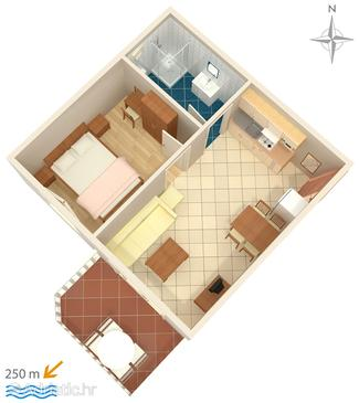 Palit, Půdorys v ubytování typu apartment, WiFi.